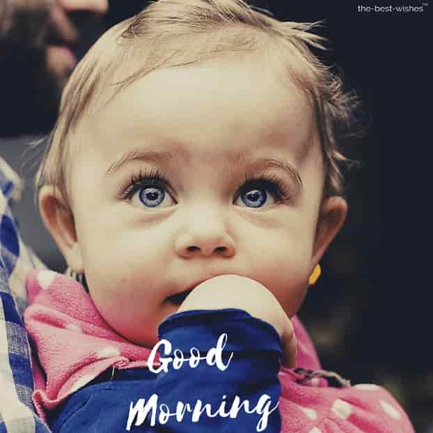 good mrng with a cute baby eyes images