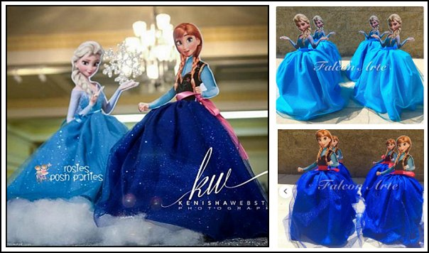 Frozen Dress Centerpiece birthday Table Centerpiece Favor Elsa Anna Olaf Inspired for Birthday Elsa Dress Anna Dress Frozen