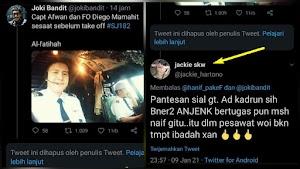 Keterlaluan! Gara-gara Pilot Sriwijaya Air Berpeci Putih, Capt Afwan Diumpat Kadrun
