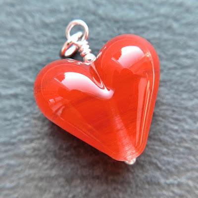 Handmade lampwork glass heart bead pendant in CiM Watermelon by Laura Sparling