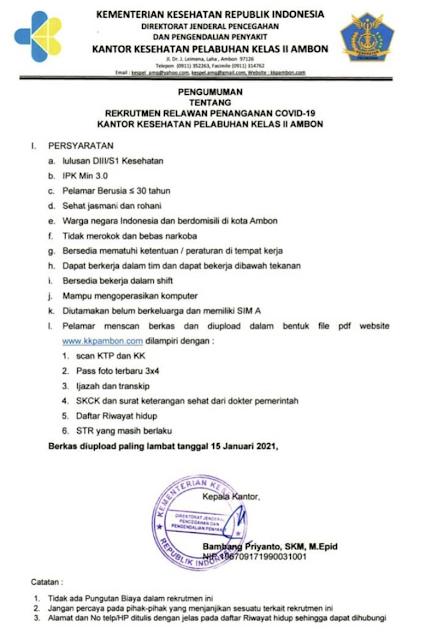 Rekrutmen Kantor Kesehatan Pelabuhan Kelas II Ambon