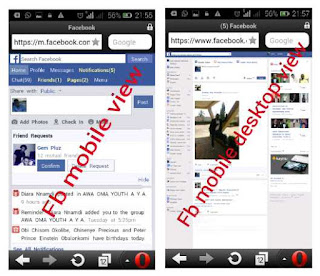 facebook mobile and desktop version on opera mini