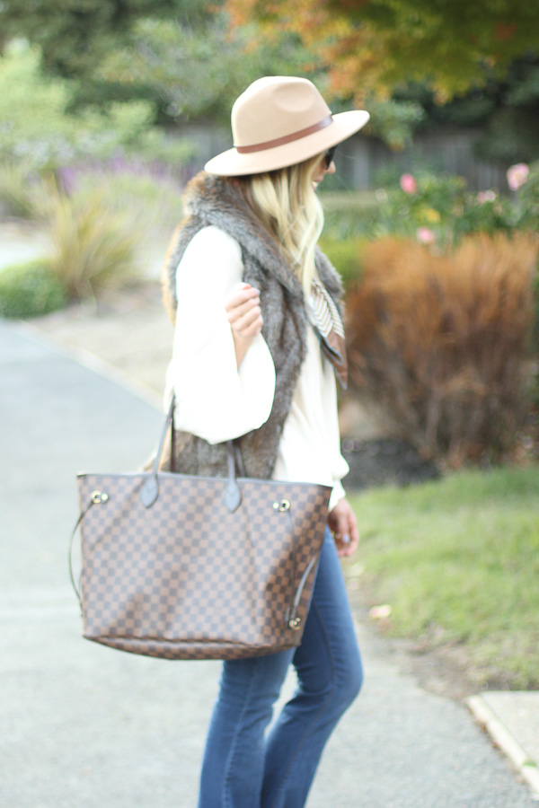 brown check oversized tote