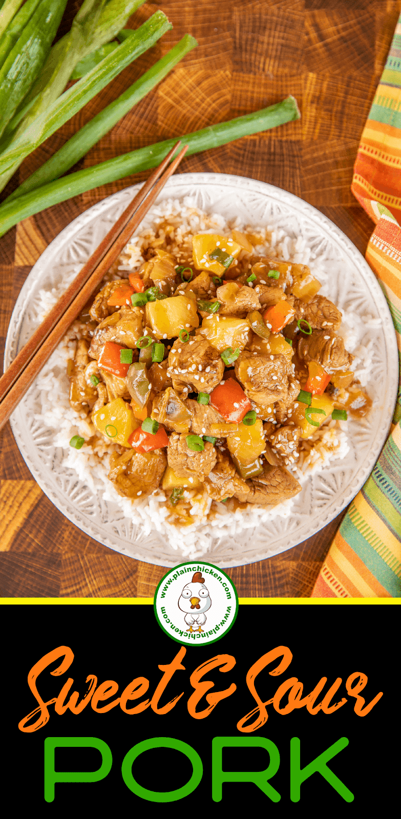 sweet & sour pork with rice on a plate