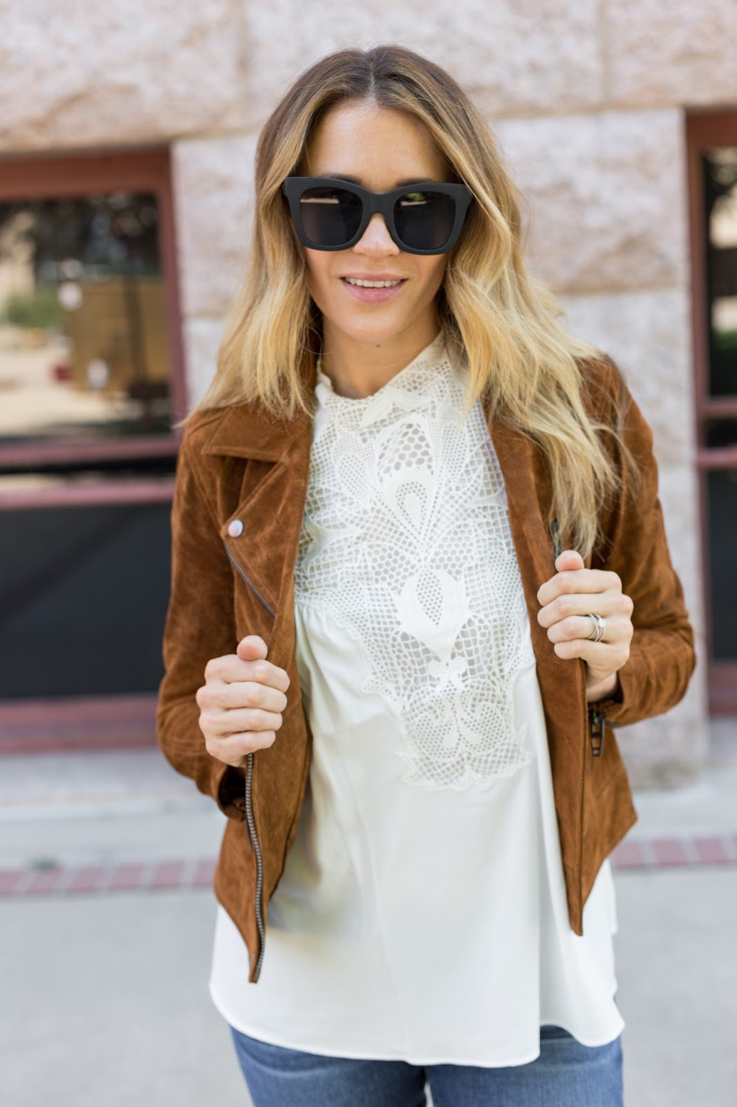 White Top and Rust Colored Jacket - The Must Have Brown Suede Jacket For Fall by Colorado fashion blog