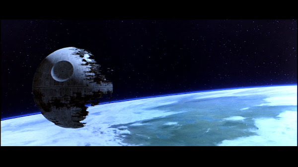 Death Star II in low orbit above the Sanctuary Moon Endor from Return of The Jedi