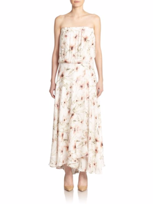Strapless floral print silk maxi dress, $174.99 from Haute Hippie