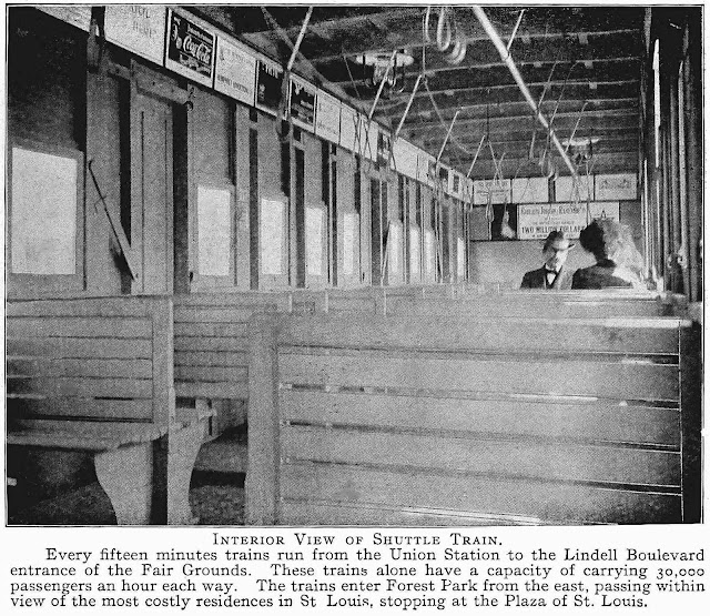 the 1904 Louisiana Purchase expo shuttle train interior photograph showing details and two passengers