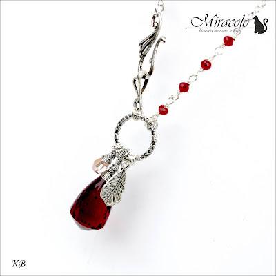 Miracolo, Red Quartz Faceted Chandelier Shape Briolettes Pendant,  wisiorek z kwarcem czerwonym, kwarc czerwony, biżuteria