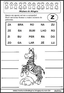 Formar palavras com a letra z