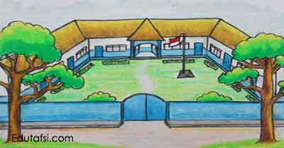 Belajar menggambar sekolah menggunakan oil pastels