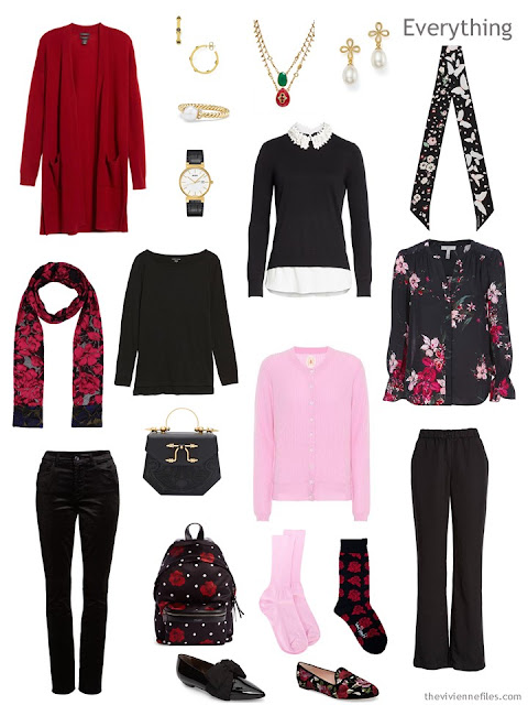 Travel Capsule Wardrobe of roses, in black, red and pink