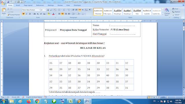 Download soal ulangan harian matematika kelas 5 semester 2 penyajian data tunggal kurikulum k13 revisi terbaru