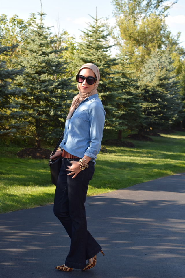 A Day In The Lalz; Flared Jeans; Denim for fall; Fall Style; Chambray; Flare Denim; Karen Walker Sunglasses; DVF Leopard Heels; Kate Spade Beau Bag; Haute Hijab; Fashion Blog; Fall Fashion