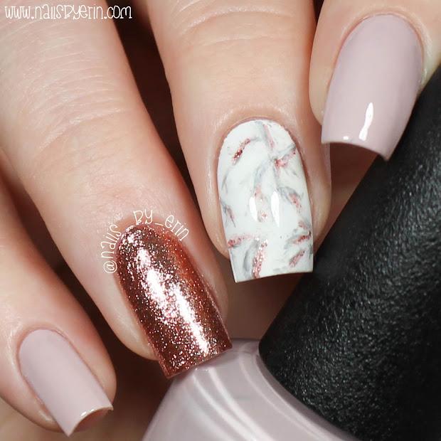 nailsbyerin rose gold marble nails