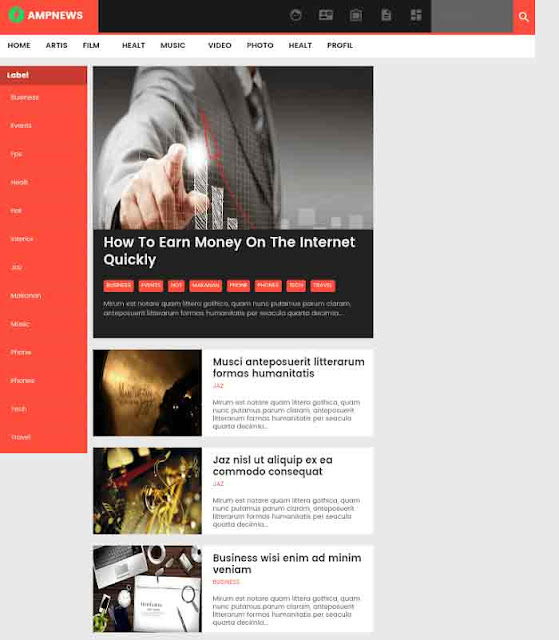 AMP News Template For Blogger