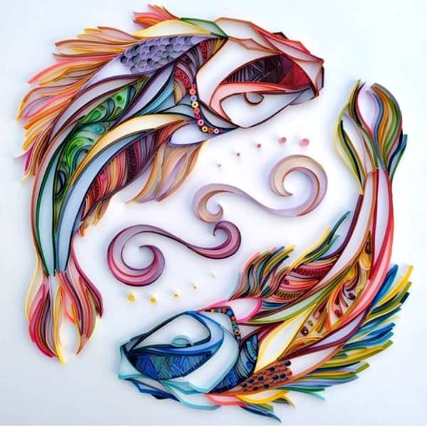 Quilled pair of koi fish