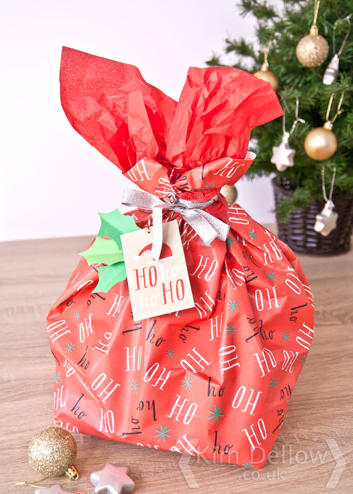 A M&S gift wrapped present ready to go