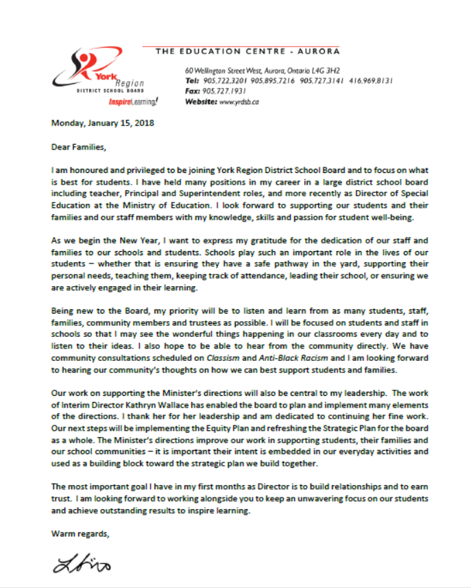 Silver Stream PS Blog: Director's Letter to Families