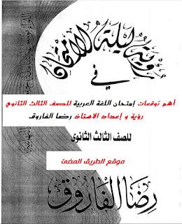 مراجعة ليلة إمتحان اللغة العربية للصف الثالث الثانوي 2020 رؤية و إعداد الاستاذ رضا الفاروق