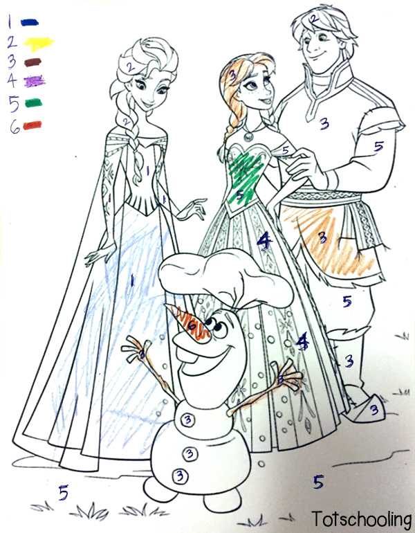 frozen coloring number pages - photo#2
