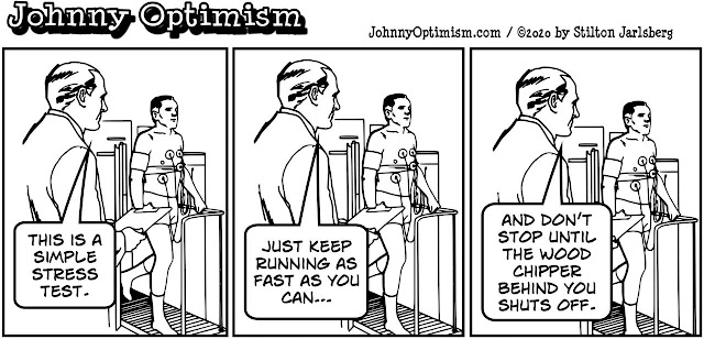 johnny optimism, medical, humor, sick, jokes, boy, wheelchair, doctors, hospital, stilton jarlsberg, stress test, treadmill, heart, wood chipper