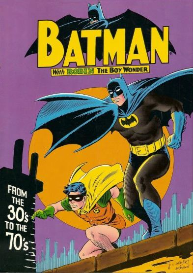 Cover to 'Batman from the Thirties to the Seventies' with Batman and Robin poised for action on rooftop against cityscape, orange full moon, and purple night sky