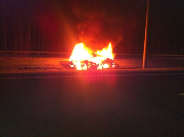 Bentley Continental GT burns at side of road after high speed accident