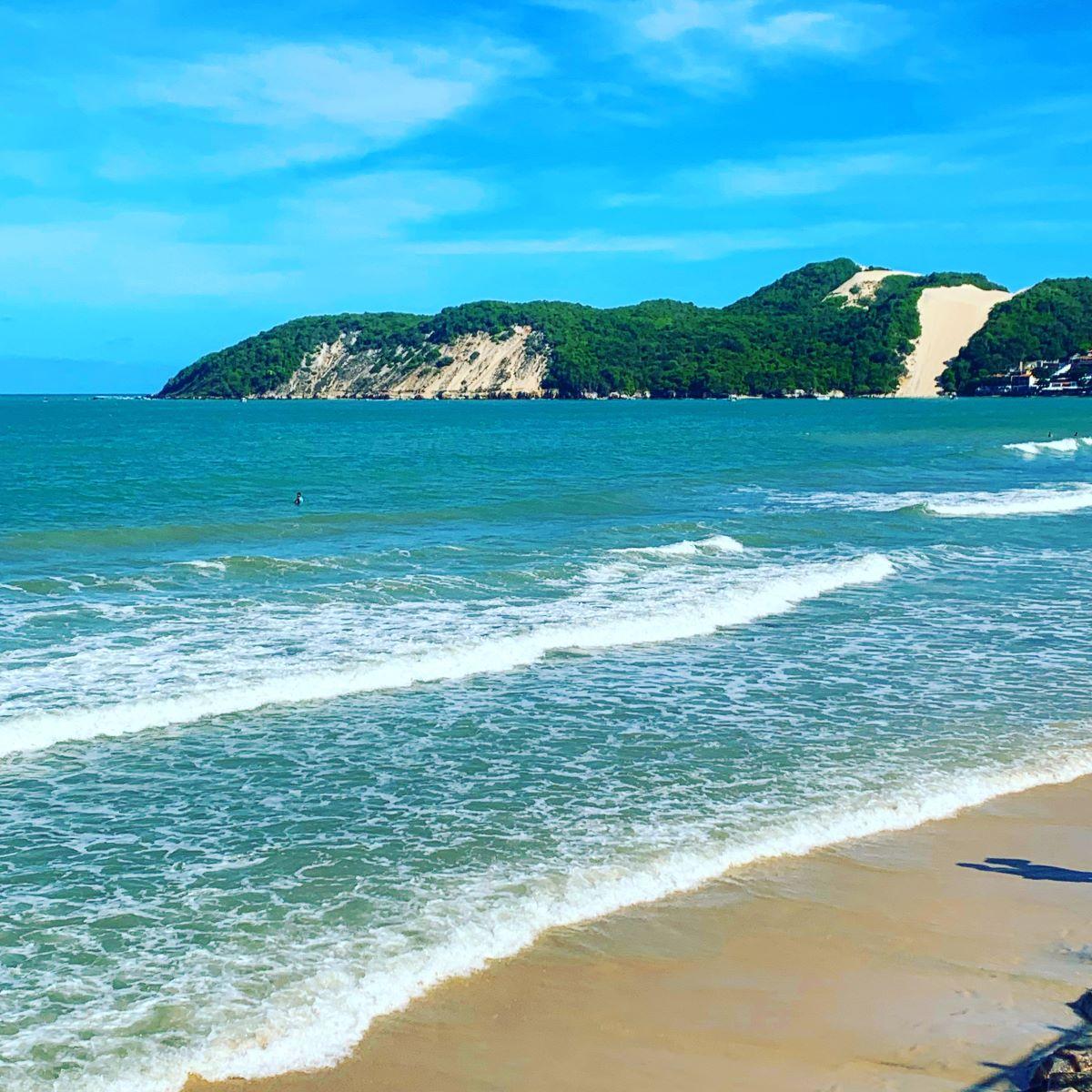 mar e dunas de areia com vegetação nativa