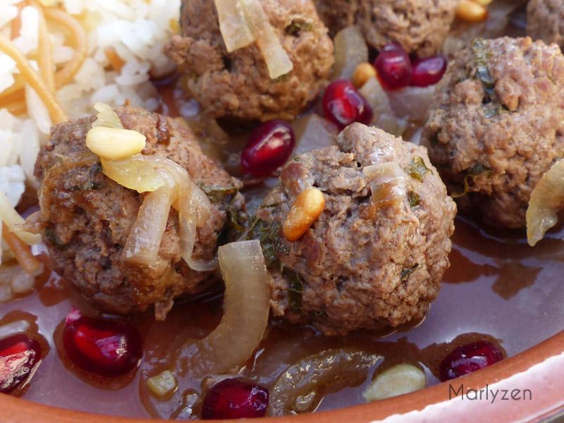 Boulettes d'agneau à la mélasse de grenade (Daoud bacha)
