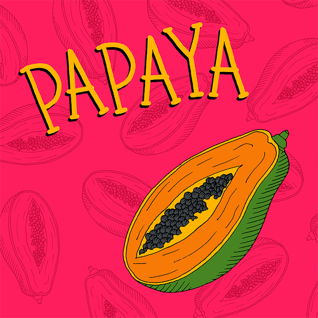 children's book illustration of papaya