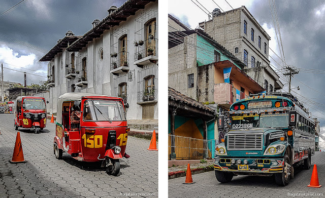 "Tuc-tuc e ""chicken bus"", meios de transporte populares na Guatemala"