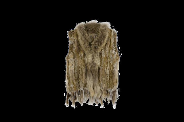 Chaleco de plumas y pelo acabado en flecos 89.99€