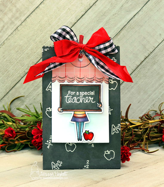 Teacher Gift Bag by Larissa Heskett | Classy Teachers Stamp Set and Fancy Edges Tag Die Set by Newton's Nook Designs #newtonsnook #handmade