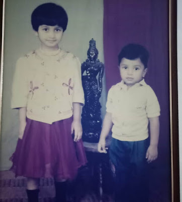 Aditi Prabhudeva childhood pic with her younger brother