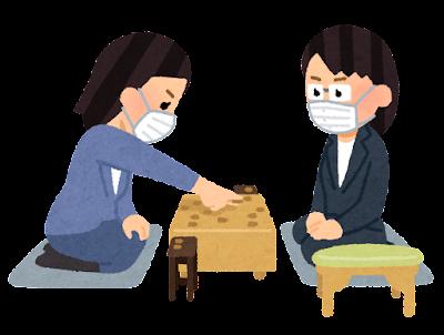 マスクを付けた将棋の対局のイラスト(女性)