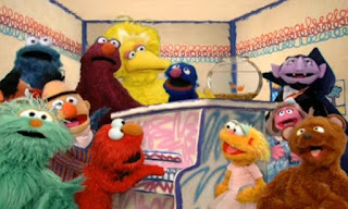 Elmo, Rosita, Grover, Cookie Monster, Telly, Zoe, The Count, Baby Bear, Big Bird, Prairie Dawn, Ernie and Bert sing the Friends Song together. Sesame Street Elmo's World Friends Song