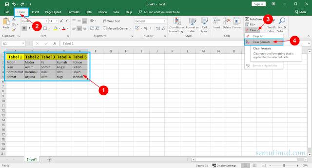 Cara Menghapus Tabel di Excel 2010