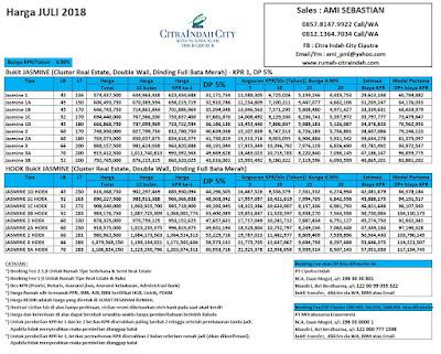 Harga JASMINE Citra Indah City Juli 2018