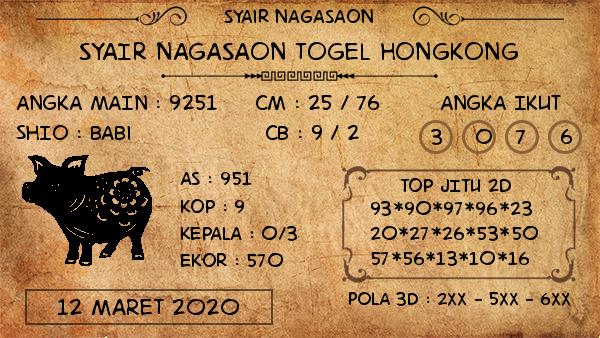 Prediksi Togel Hongkong Malam Ini Kamis 12 Maret 2020 - Nagasaon HK