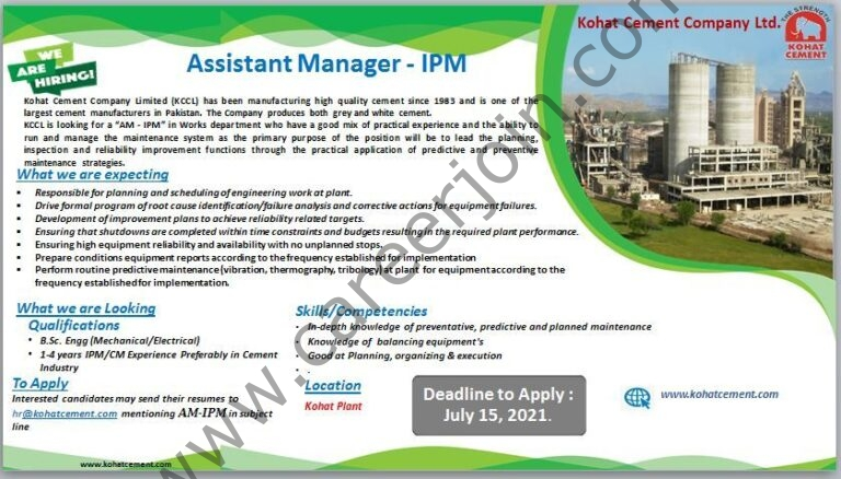 hr@kohatcement.com - Kohat Cement Company Ltd KCCL Jobs 2021 in Pakistan