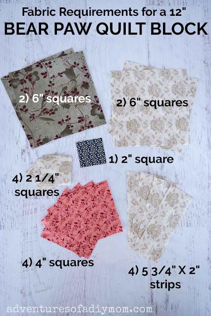 fabric requirements for bear paw quilt block