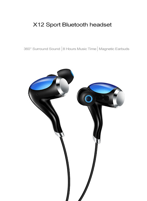 X12 High Quality Sports Wireless Bluetooth Earphone Stereo Earbuds Neckband