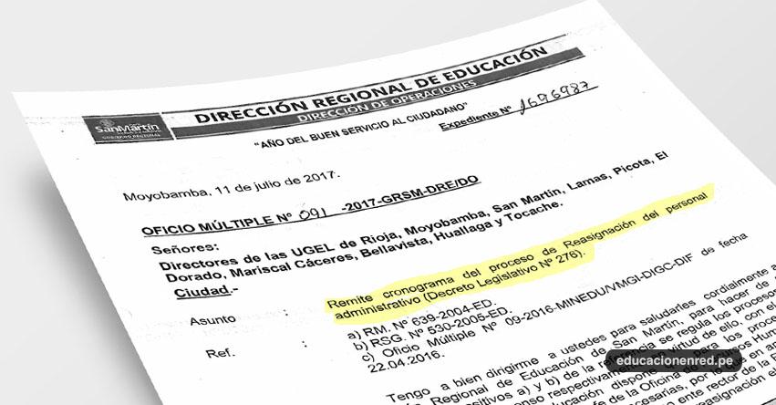 OFICIO MÚLTIPLE N° O91-2017-GRSM-DRE/DO - Cronograma Proceso de Reasignación del Personal Administrativo - DRE San Martín - www.dresanmartin.gob.pe