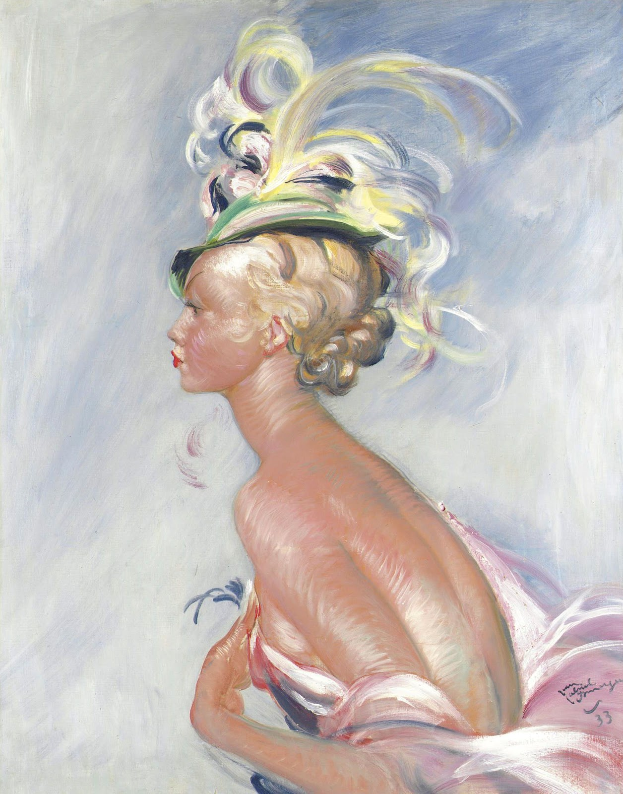 Jean Gabriel Domergue Fashionable woman in hat with feathers