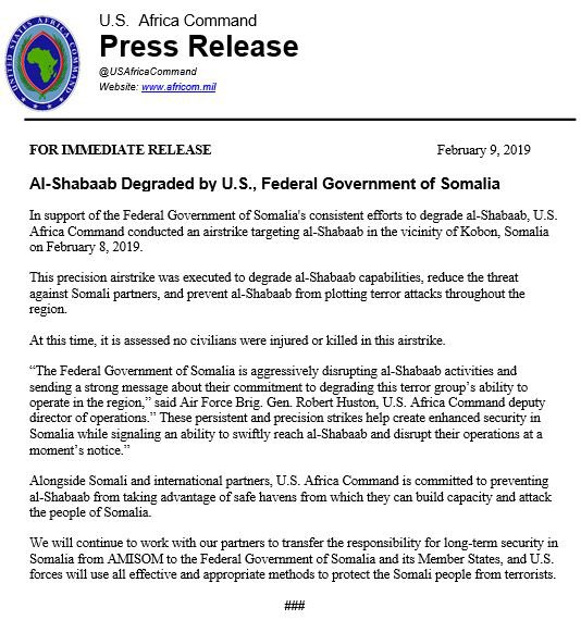 US Airstrike Degrades Al Shabaab Again