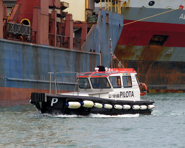 Pilot boat alongside a cargo ship, port of Livorno