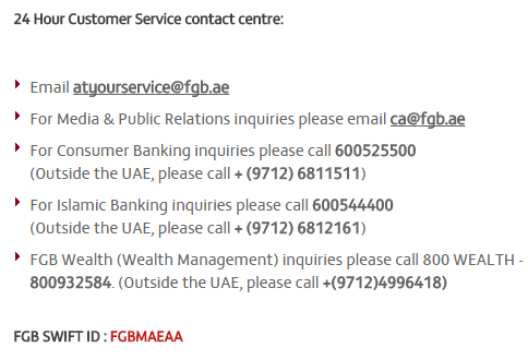 fgb bank customer care support