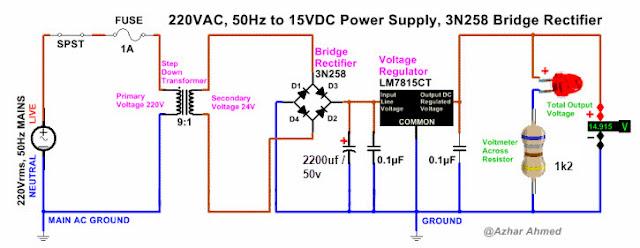 دائرة منظم جهد 15V وتيار 1A بإستخدام 7815