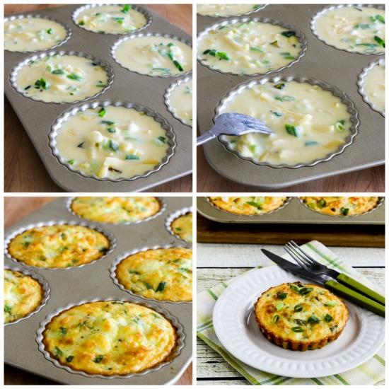 Cheesy Crustless Low-Carb Zucchini Breakfast Tarts found on KalynsKitchen.com